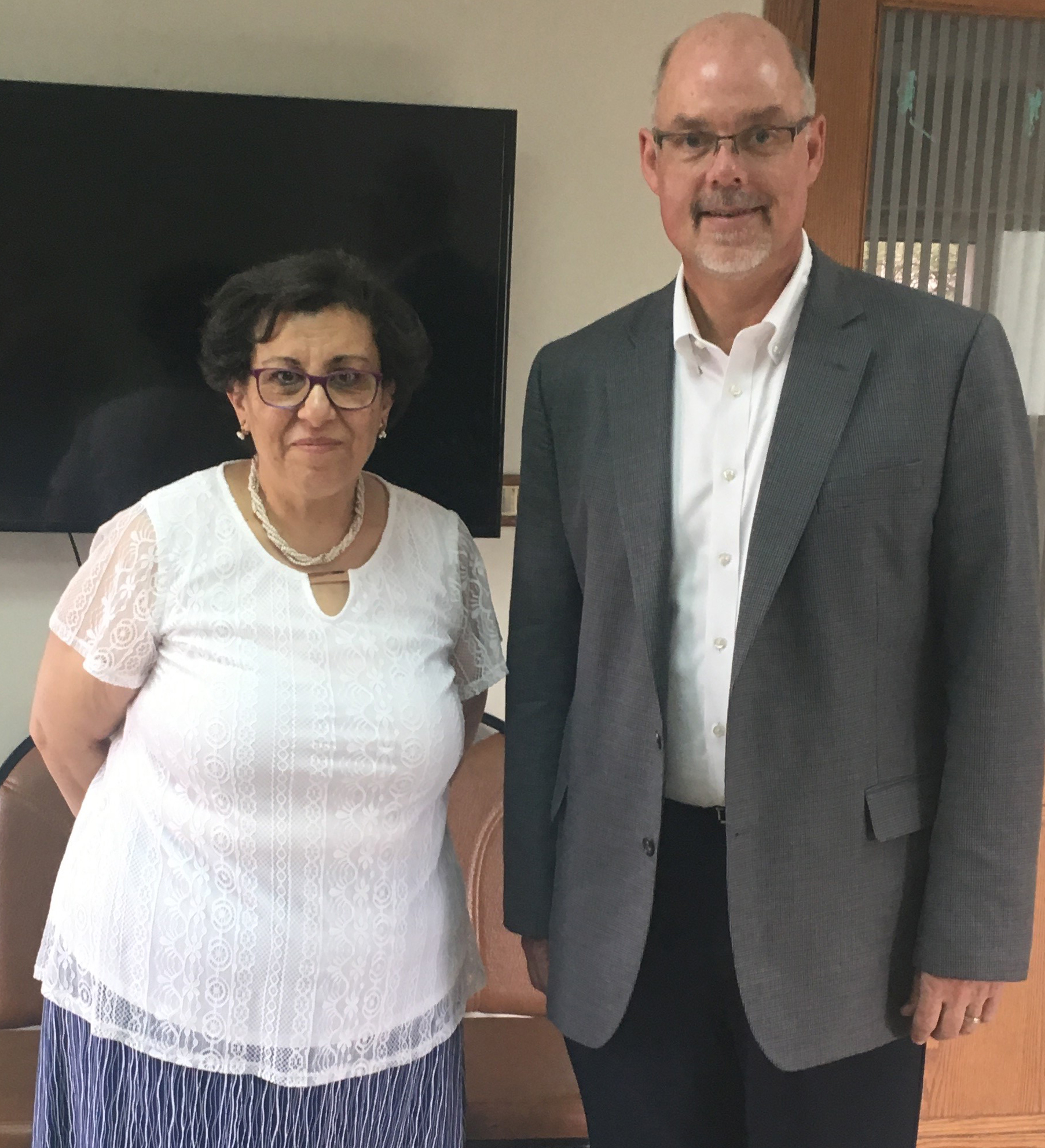Dr. Waffaa Wahba (translator) and Greg Yoder (President, Keys for Kids)